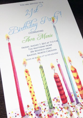 Birthday Candle Artwork on Party Invitation