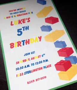 Colorful Lego Party Invitation
