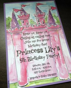 Castle art on girl's party invitation