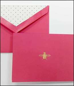 Crane Boxed Stationery with Embossed Bee