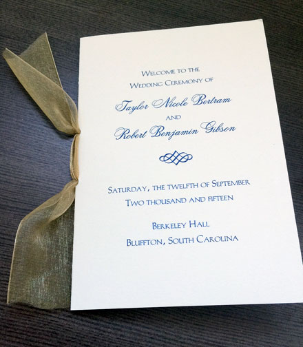 Wedding Program Stationery for the Day of the wedding