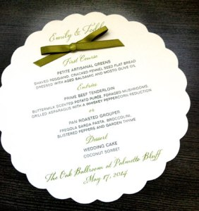 Die Cut Wedding Menu card