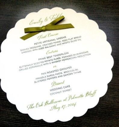 Die Cut Wedding Menu card