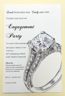 Engagement Party invitation with Big Diamond Ring
