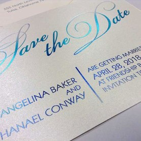 Save the Date with Foil on Shimmer Paper