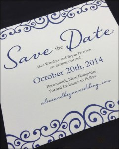 Navy ink on Save the Date