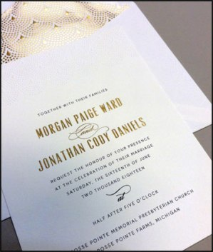 Embossed Wedding invitation with Gold Matching Liner