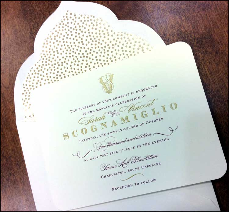 Gold confetti envelope lining for a little extra dazzle.